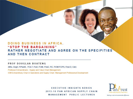 2016 PAN AFRICAN PUBLIC LECTURES - DOING BUSINESS IN AFRICA - NEGOTIATIONS